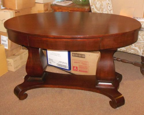 Rare Antique American Oval Empire Desk Library Sofa Table Mahogany