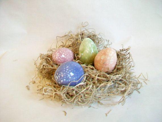 Easter Eggs  OOAK  Easter Eggs  Set of 4  by SuzannesPotteryFarm