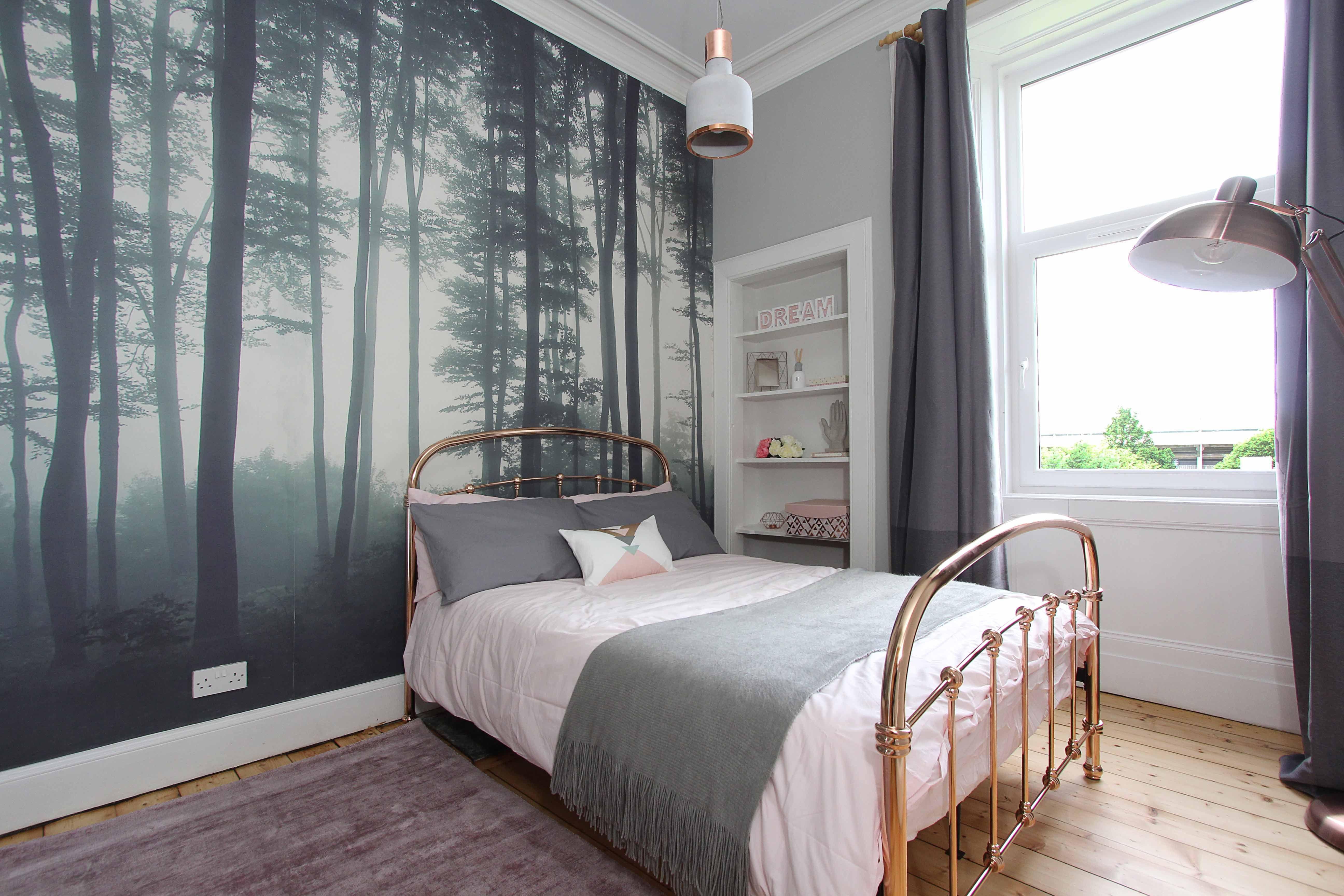 Modern, Scandinavian, pink, grey and copper bedroom