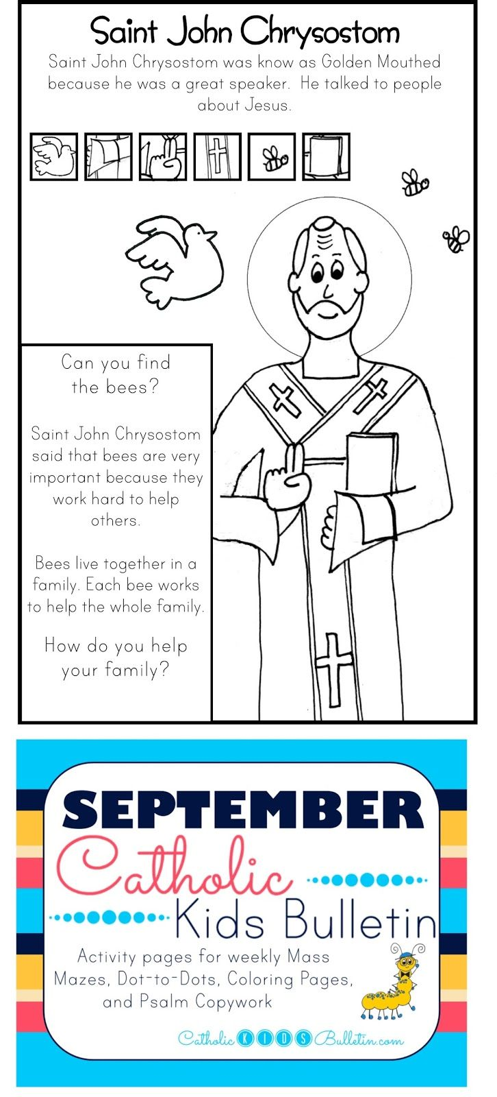 Saint John Chrysostom Coloring Page Catholic Kids Bulletin | 2nd ...