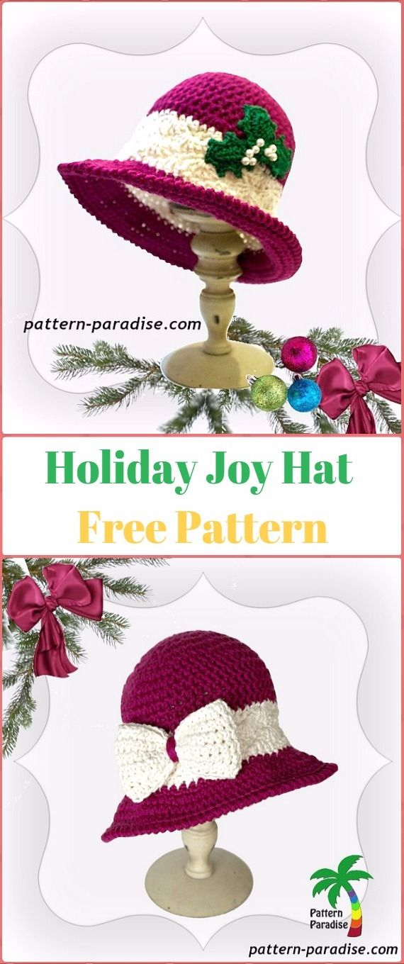 Crochet Holiday Joy Hat Free Pattern - Crochet Christmas Hat Gifts ...