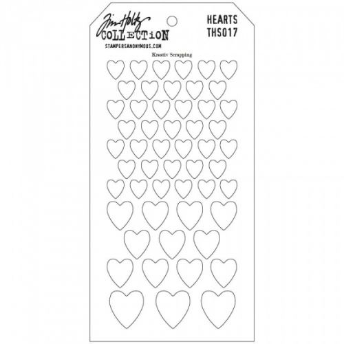 "TIM HOLTZ LAYERED STENCIL THS017 - HEARTS  With a total size of 4.125 inches x 8.5 inches each tag has a hole in the top to attach with a basic book ring to make storage and organization easy. Use layering stencils with your favourite inks, paints, pastes, stamps, and more for endless possibilities.As the man himself puts it  ""I wanted to design stencils that were a little more imperfect as a way to add texture and imagery along with my stamps.  so what ..."