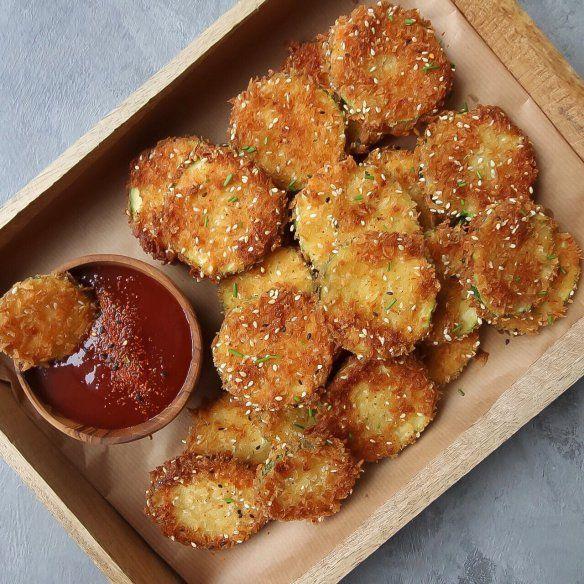IMG_0304 Zucchini chips, Okonomiyaki sauce, Zucchini
