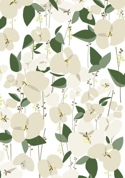 White Orchid Art Print By Frameless Society6 Flower Print Pattern Art Prints Orchid Illustration