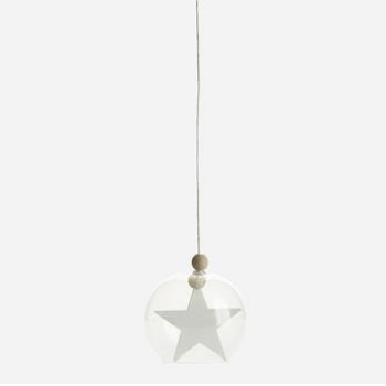 House Doctor DK Hanging Star Glass Decorative Ornament: Hanging star glass decorative ornament by House Doctor.