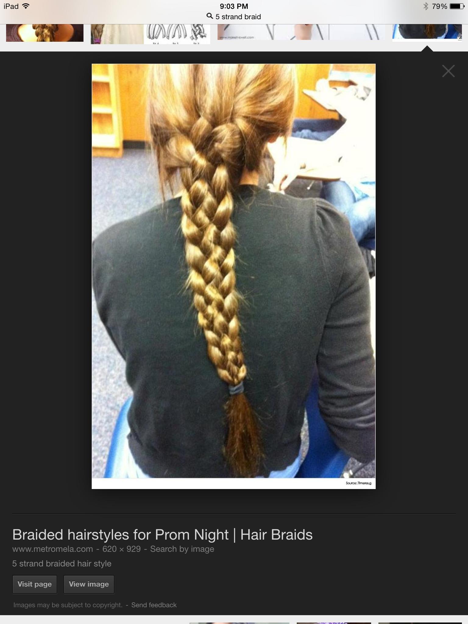 5 STRAND BRAID!!!! Gorgeous!!!http://www.google.com/imgres?imgurl=http://www.metromela.com/wp-content/uploads/2014/07/5-strand-braided-hair-style.jpg&imgrefurl=http://www.metromela.com/braided-hairstyles-for-prom-night/&h=929&w=620&tbnid=i8RZcH262uZ06M:&zoom=1&docid=MkFmKChu-ByFGM&hl=en&ei=7_HGVOzpJ4OdNs_Zg6gM&tbm=isch&client=safari&ved=0CEQQMygVMBU
