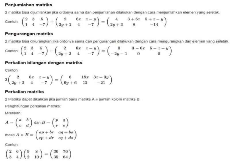 Perhitungan Matriks Perkalian Penjumlahan Pengurangan Contoh Soal Matematika Belajar Tulisan
