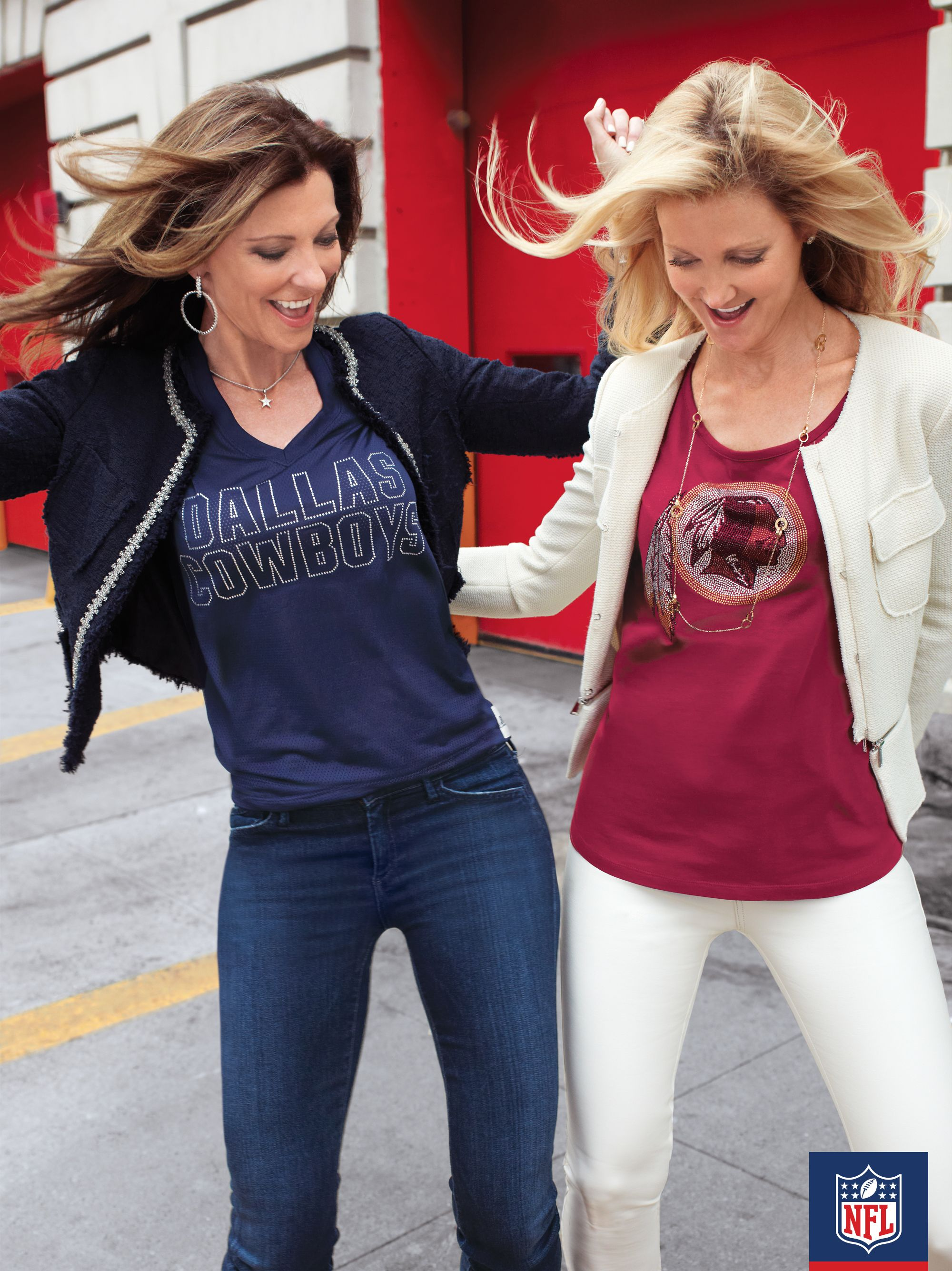 #NFLFanStyle #contest Don't let a little rivalry get in your way. Both Tanya Snyder and Charlotte Anderson look super-sharp in their Dallas and Washington tees.