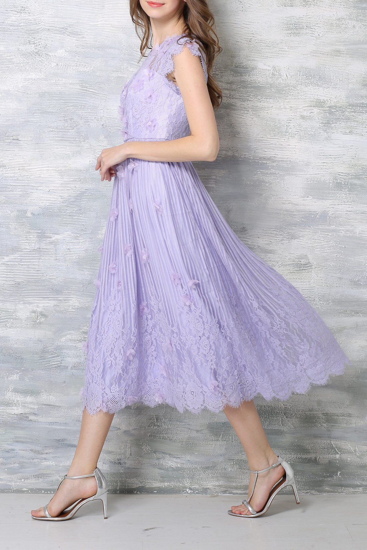 Lace Stereo Floral Tea Length Dress == | Wedding Bridemaids ...