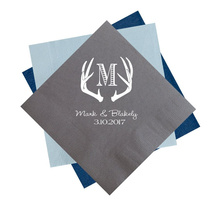 Antler Napkins Wedding Reception Rustic Personalized Custom Cocktail