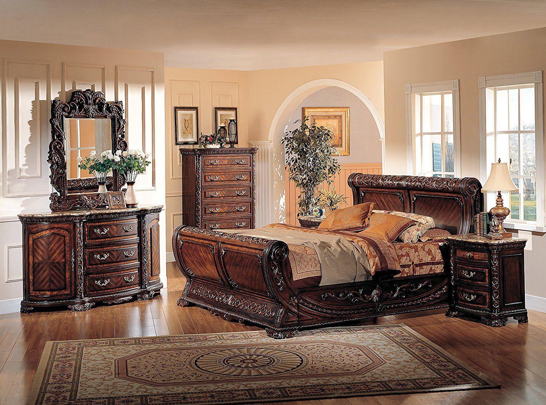 Amazon Com B1008 5 Pcs Providence Sleigh Bedroom Set Collection Dark Walnut W X2f Marble To Luxury Bedroom Sets Sleigh Bedroom Set Luxury Bedroom Furniture