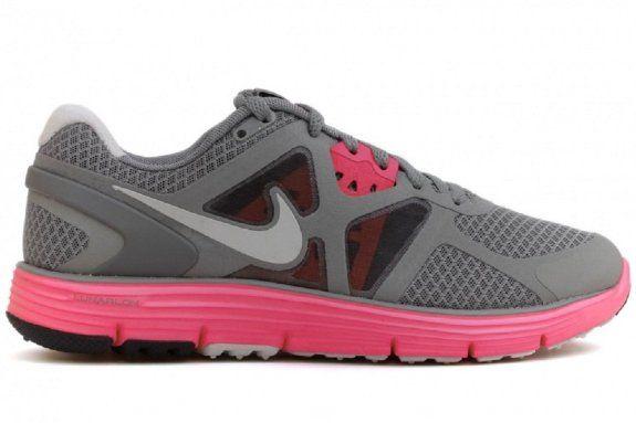 Nike Women's Lunarglide+ 3 Running Training Shoes-Gray/Pink