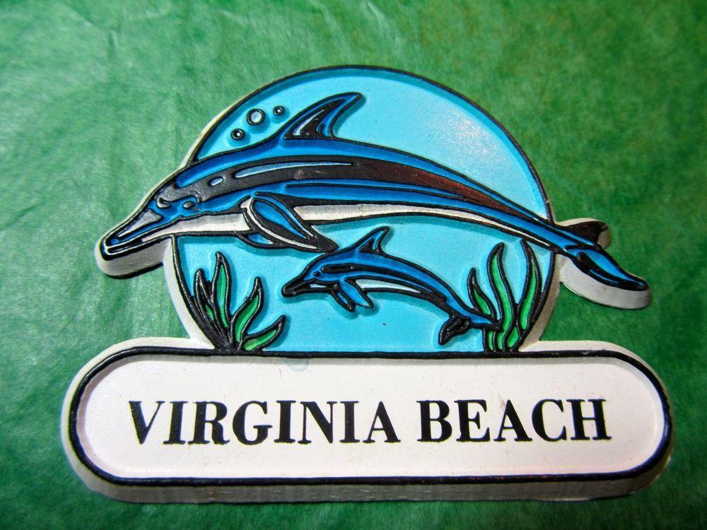 Virginia Beach Dolphins Travel Souvenir Magnet Lot 415