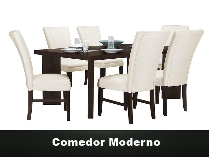Comedor Moderno de 6 sillas. Mesa de MDF y sillas tapizadas en ...