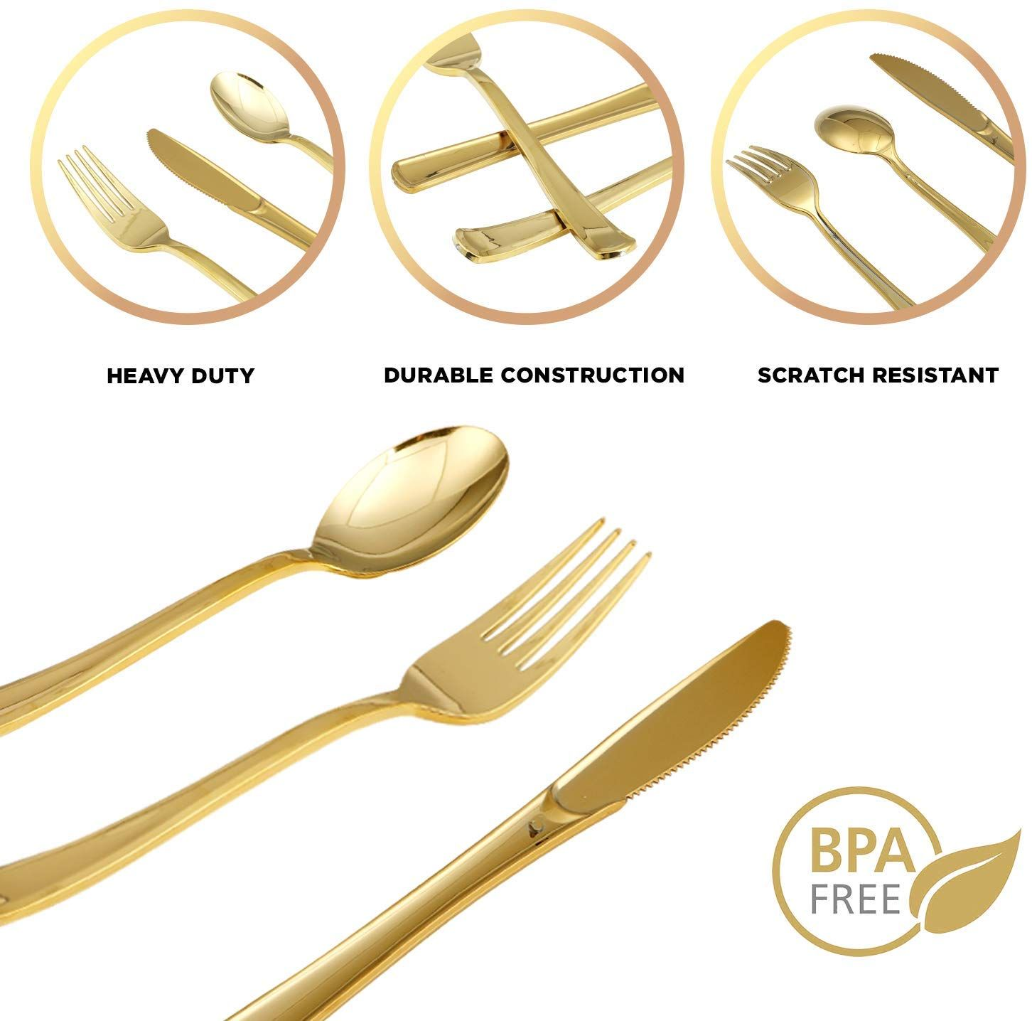 Amazon Com Gold Plastic Silverware Party Utensils Set Heavy Duty Plastic Disposable Cu With Images Plastic Silverware Gold Plastic Silverware Wedding Silverware Display