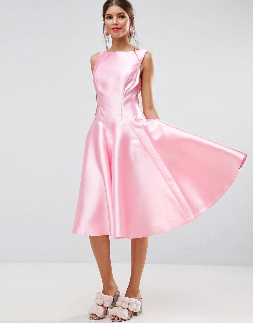 ASOS SALON Paneled Seamed Midi Prom Dress with Godets - Pink ...