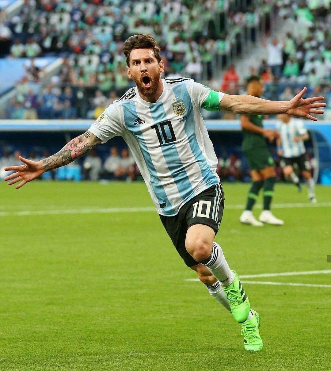 Lionel Messi festejando su gol ante Nigeria en el Mundial
