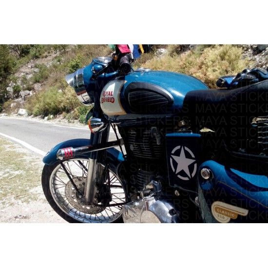 White Star Sticker On Royal Enfield Classic Blue Lagoon Royal - Best custom vinyl decals for motorcycle seat