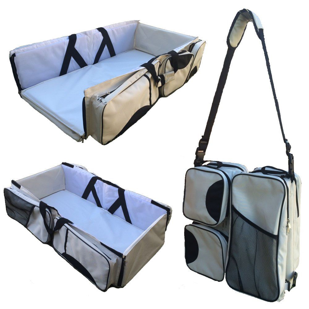 3 In 1 Baby Travel Bassinet Diaper Bag Change Station Cream Carrycot Portacrib Bed Portable Table Ny