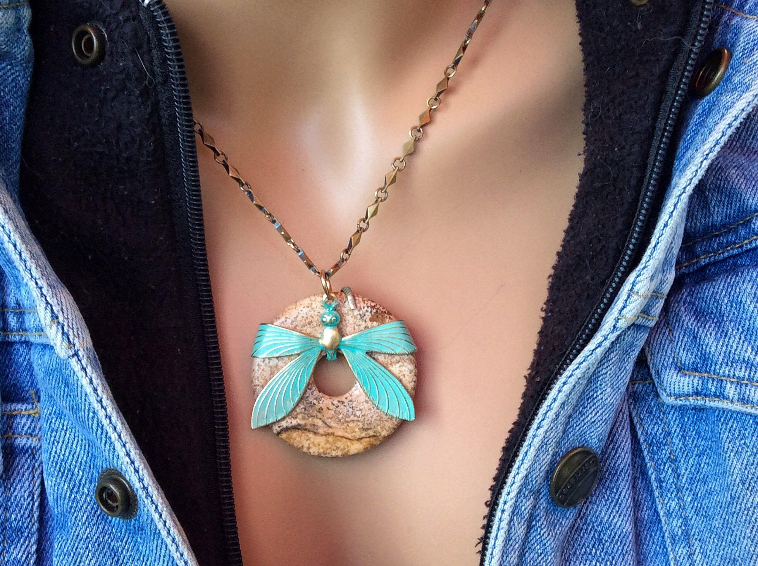 Adjustable dragonfly necklace jasper donut pendant