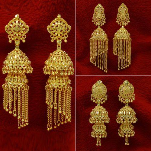 Ethnic Indian Traditional Gold Plated Jhumka Earrings Set Women Wedding Jewelry