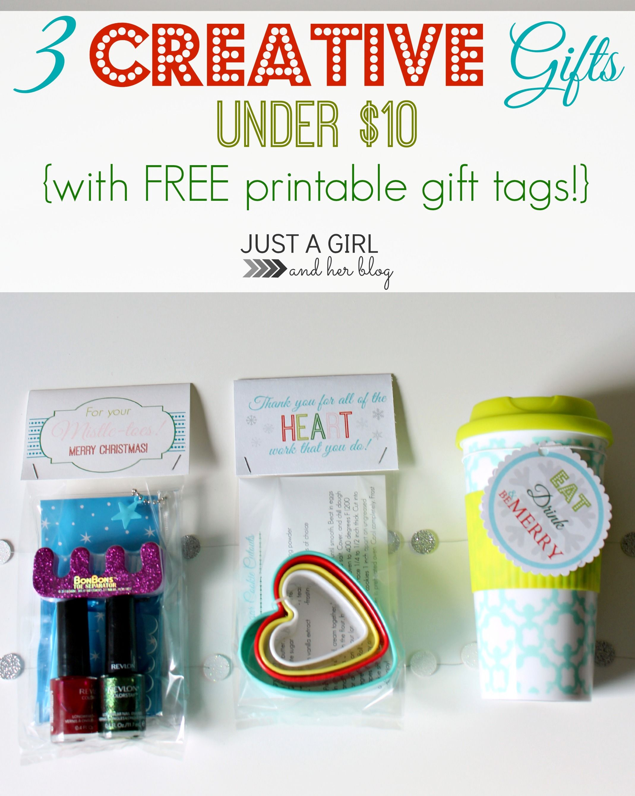 3 Creative Gifts Under $10 {with FREE printable gift tags