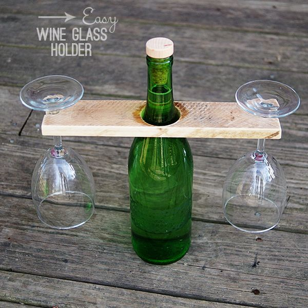 Diy wine glass holder from reclaimed wood and wine bottle for Wine bottle glasses diy