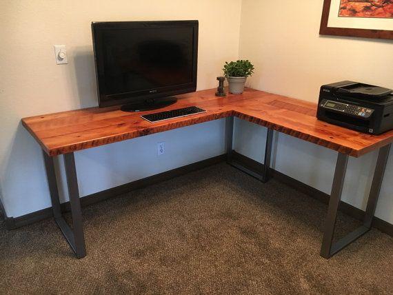 Reclaimed wood desk. Wood and steel desk. Industrial desk. Corner desk. Old  desk. Rustic Desk. Executive desk. Office Desk - L-shaped Desk. Reclaimed Wood Desk. Wood And Steel Desk