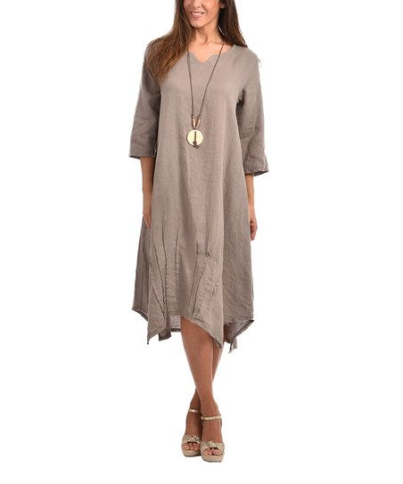 Couleur Lin Taupe Idyle Linen Handkerchief Dress - Plus Too | zulily ...