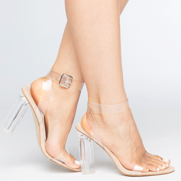 69a5084fdb04 MATAI Perspex Clear Heel Sandals with Lucite Heel at FLYJANE