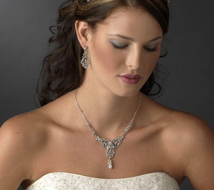 Charming Modern Vintage Silver Wedding Jewelry Set - Affordable Elegance Bridal -