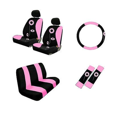 Brand New Set Pink Sunflower Car Seat Covers Steering Wheel Cover Belt
