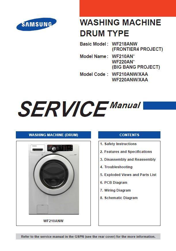 Samsung Wf210anw Wf220anw Service Manual Repair Guide In 2020 Repair Guide Samsung Samsung Washing Machine