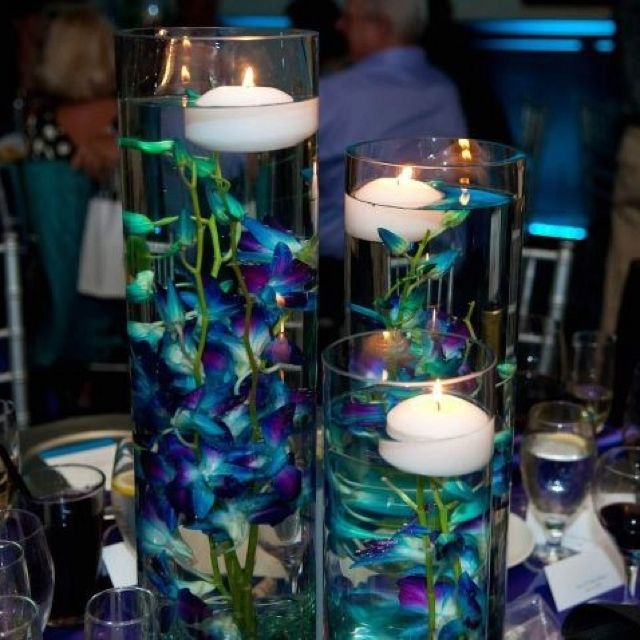 Floating Candles And Flowers For Wedding Centerpieces: Centerpiece Submerged Dendrobium Orchids And Floating
