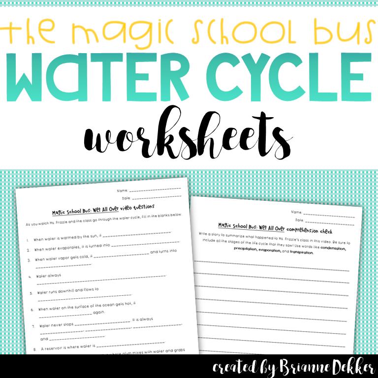 Magic School Bus: Wet All Over - Water Cycle Worksheets | My TPT ...