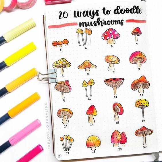 Mushroom Doodles #bulletjournaloctobre