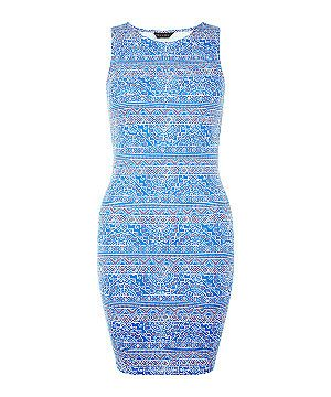 Blue Aztec Print Sleeveless Mini Dress  | New Look