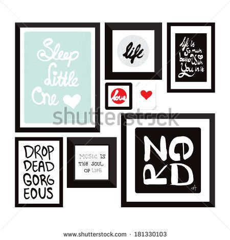 Trendy wall decoration typography quote home decor photo frame with text in vector by Maaike Boot, via Shutterstock