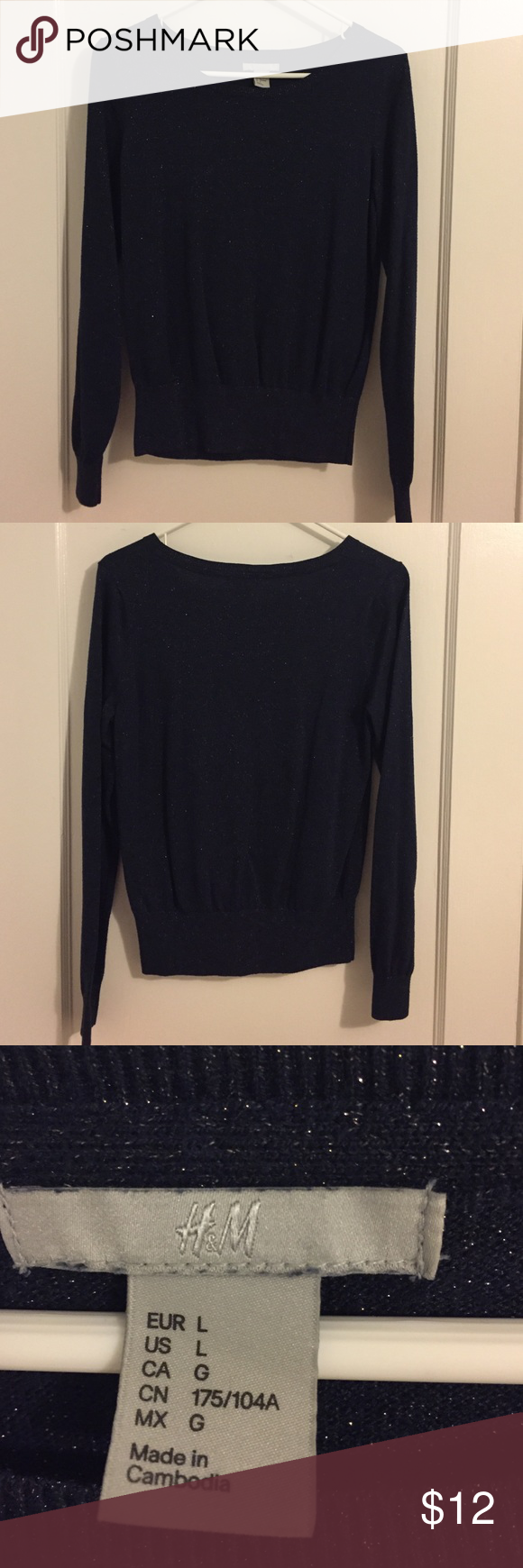 H&M Navy Blue Gold Shimmer Sweater | Blue gold, Navy blue and ...