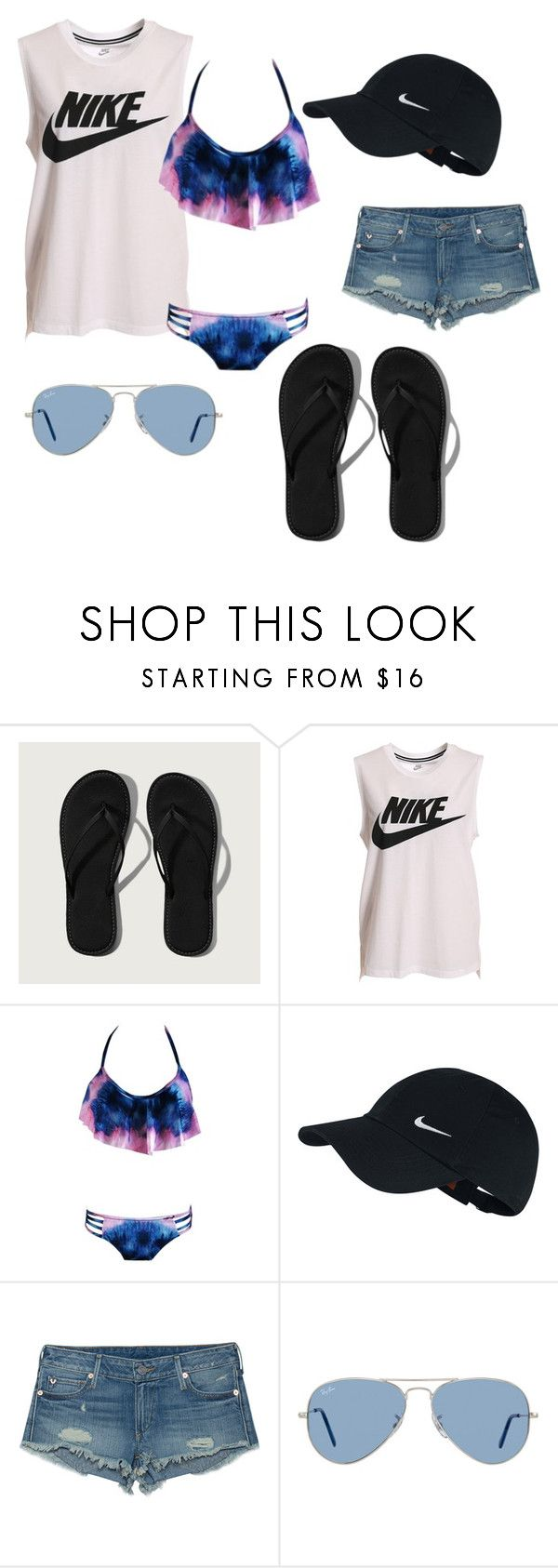 """swim"" by elizabethbaio on Polyvore featuring Abercrombie & Fitch, NIKE, True Religion and Ray-Ban"