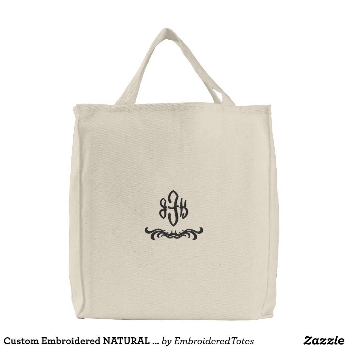 Download Custom Embroidered Natural Totes Monogram 14 Embroidered Tote Bag Embroidered Tote Tote Bag Design