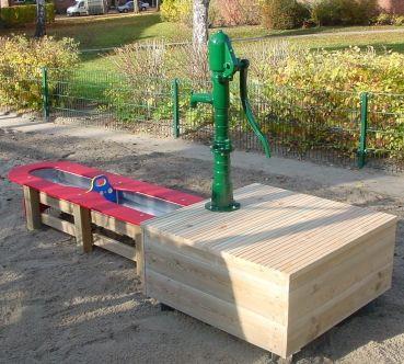 Wasserspielanlage Planschtisch Mit Pumpe Zum Sandkasten Sandkasten Wasserpumpe Garten Kasten
