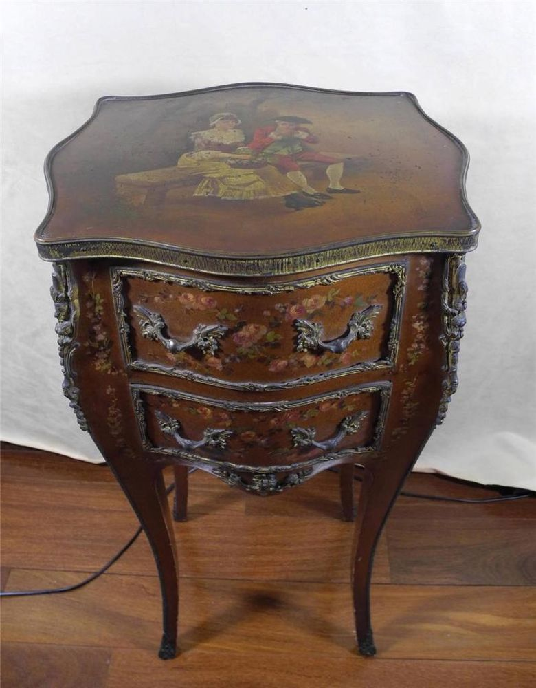ANTIQUE FRENCH VERNI MARTIN SIDE TABLE COMMODE NIGHT STAND Night