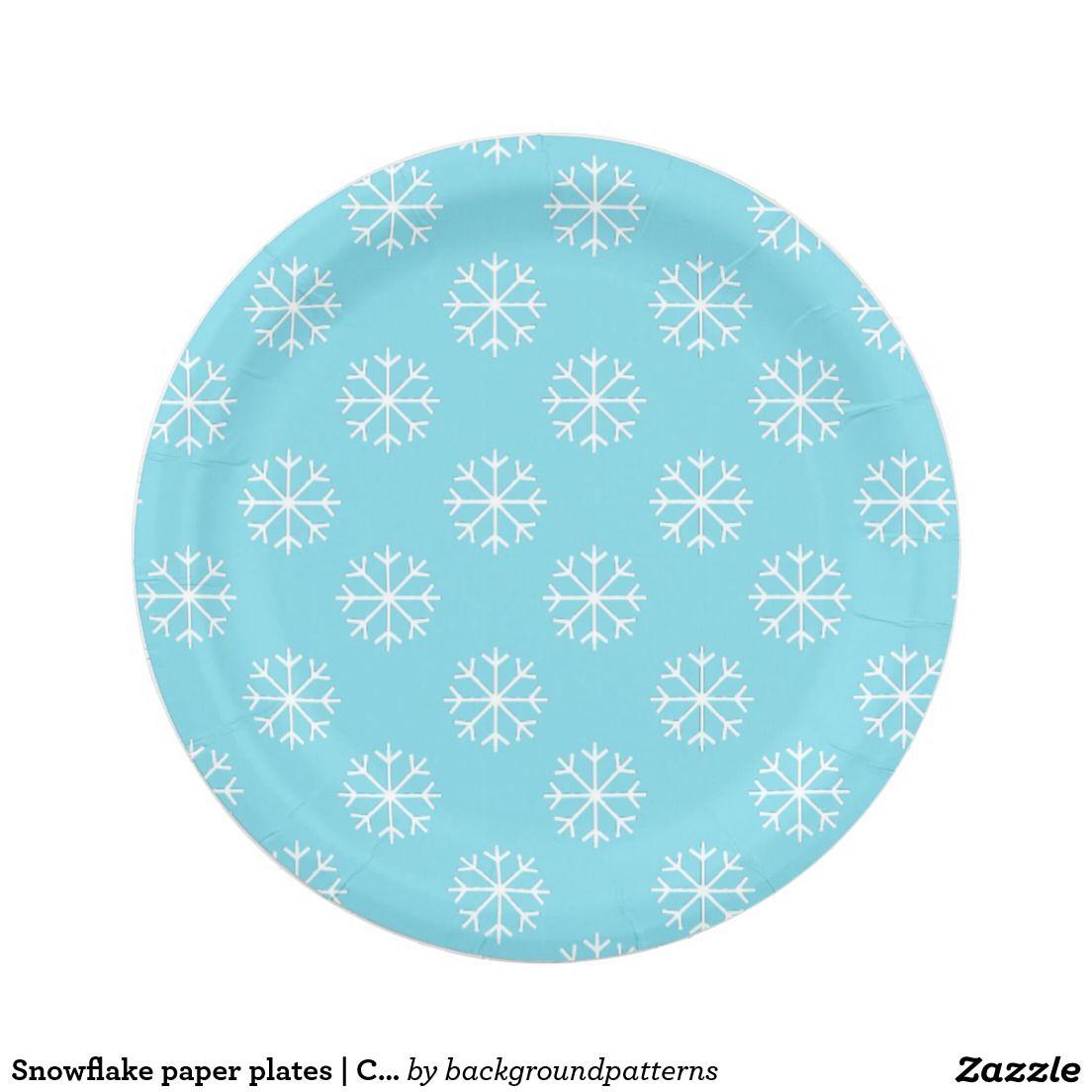 Snowflake Paper Plates Christmas Party Supplies Zazzle Com Con Imagenes