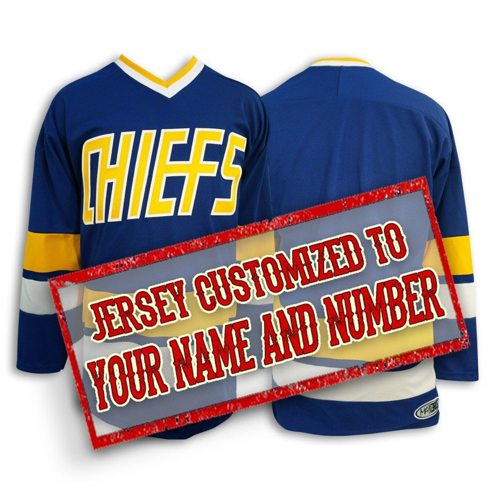 Charlestown Chiefs hockey jersey from SlapShot movie customized with your  name and number 8f0aa40fa