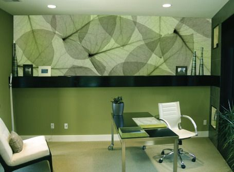 beautiful abstract green leaves wall murals in small office design ideas