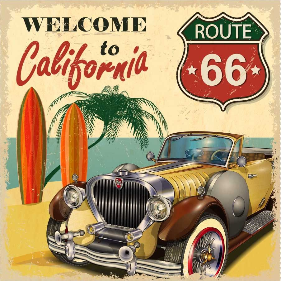 8x8FT Welcome to California Vintage Car Route 66 Sea Palm Tree ...