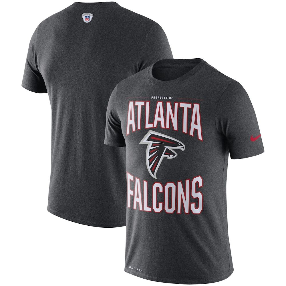Atlanta Falcons Nike Team Logo Sideline Property Of Performance T Shirt Heathered Charcoal In 2020 Shirts Atlanta Falcons T Shirt