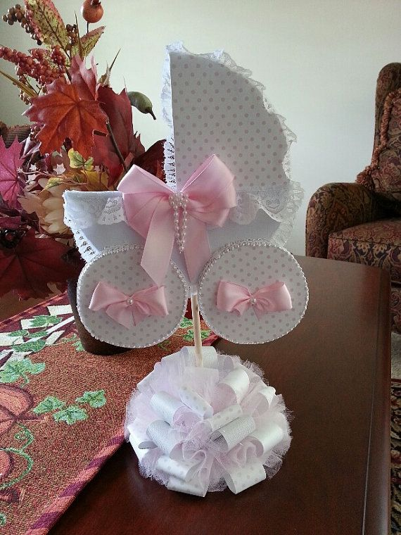 Pink And White Polka Dot Carriage Centerpiece / Baby ...