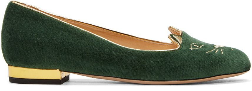 CHARLOTTE OLYMPIA Green Velvet Kitty Flats.  charlotteolympia  shoes  flats 3abe7741d